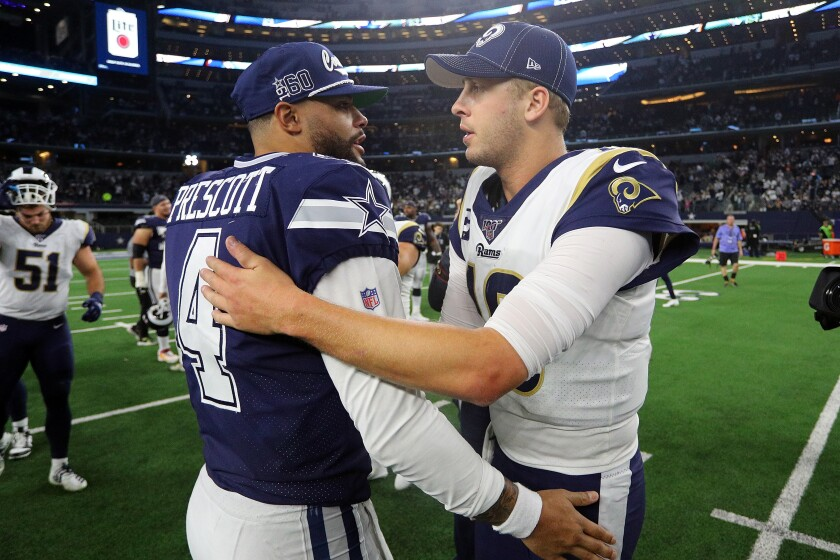 Quarterbacks Dak Prescott of the Cowboys and Jared Goff of the Rams
