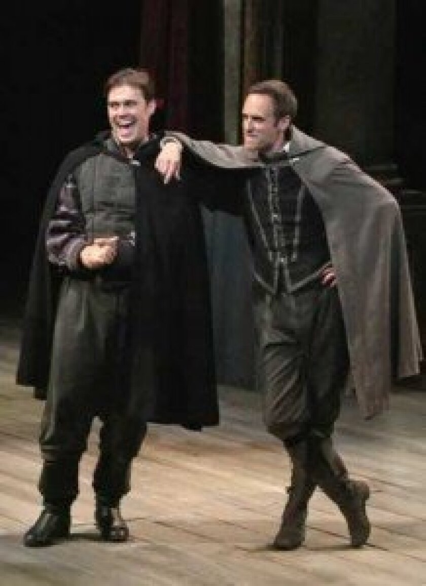 Rosencrantz (John Lavelle) and Guildenstern (Jay Whittaker) are the comedic duo in Tom Stoppard's 'Rosencrantz and Guildenstern Are Dead.' Michael Lamont