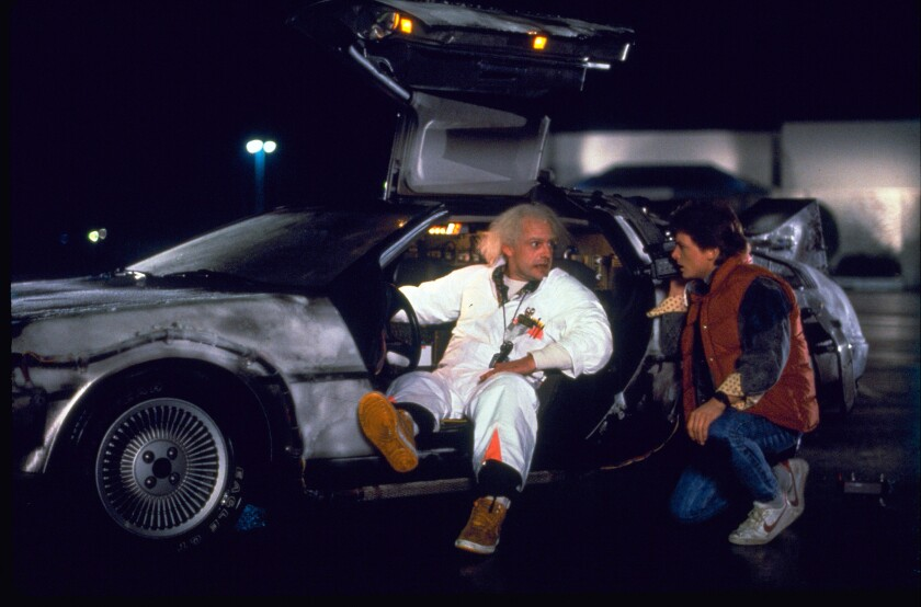 """Wednesday's so-called """"Back to the Future"""" Day marks the date -- Oct. 21, 2015 -- that characters Marty McFly (Michael J. Fox, right) and Doc Brown (Christopher Lloyd) journeyed to the future in the 1985 film."""