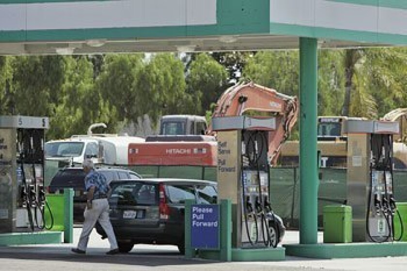 A gas station on Adams Avenue has reopened on land that was to be developed. (Eduardo Contreras / Union-Tribune)
