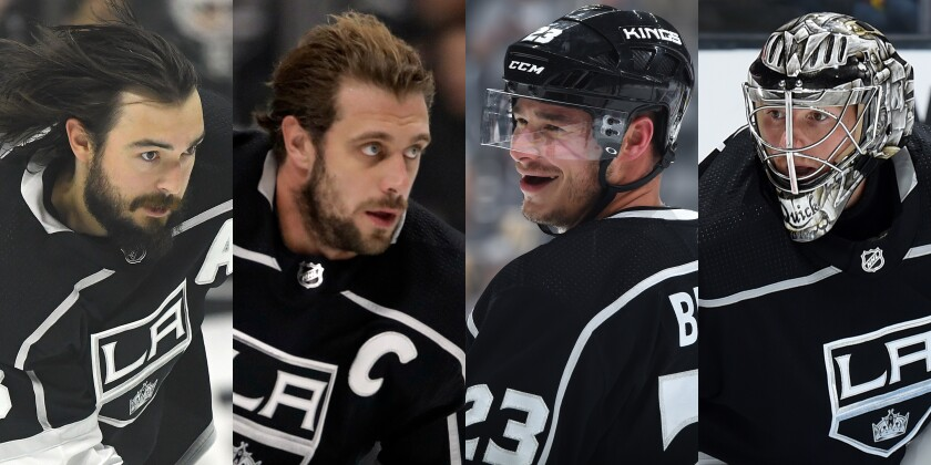 From left: Drew Doughty, Anze Kopitar, Dustin Brown and Jonathan Quick remain the Kings' core players as the team prepares for the 2019-20 season.
