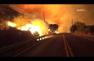 RAW: Fast-moving brush fire explodes in Ventura County