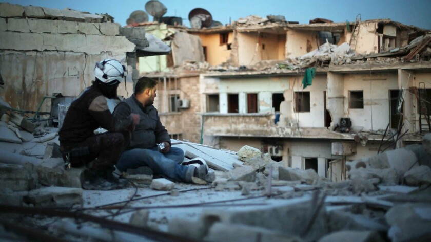 "A scene from the documentary ""Last Men in Aleppo."""