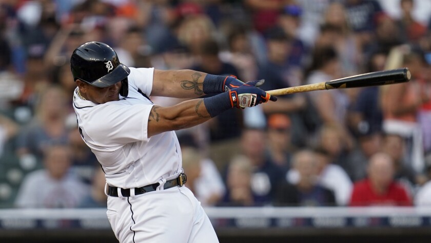 eDetroit Tigers' Miguel Cabrera hits a solo home run against the Boston Red Sox in the second inning of a baseball game in Detroit, Tuesday, Aug. 3, 2021. (AP Photo/Paul Sancya)