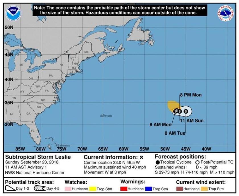 Imagen cedida hoy, domingo 23 de septiembre de 2018, por el Centro Nacional de Huracanes (NHC, en inglés), que muestra el pronóstico de tres días de la tormenta subtropical Leslie. EFE/NHC/SOLO USO EDITORIAL/NO VENTAS