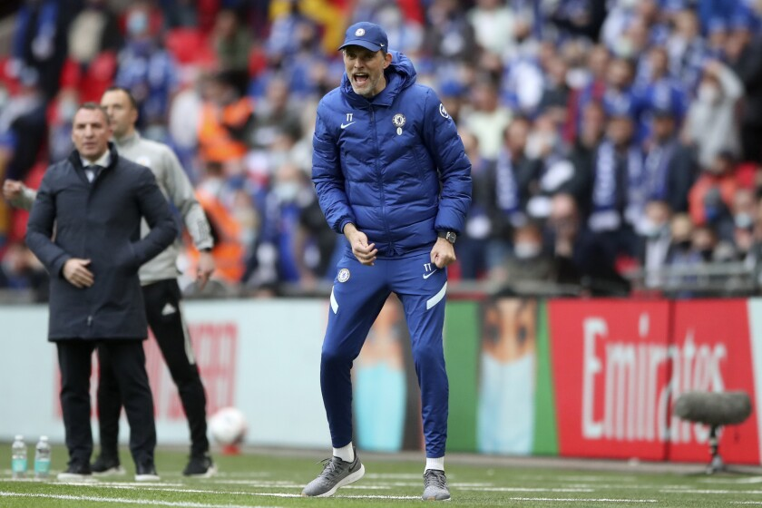Chelsea's head coach Thomas Tuchel reacts during the FA Cup final soccer match between Chelsea and Leicester City at Wembley Stadium in London, England, Saturday, May 15, 2021. (Nick Potts/Pool via AP)