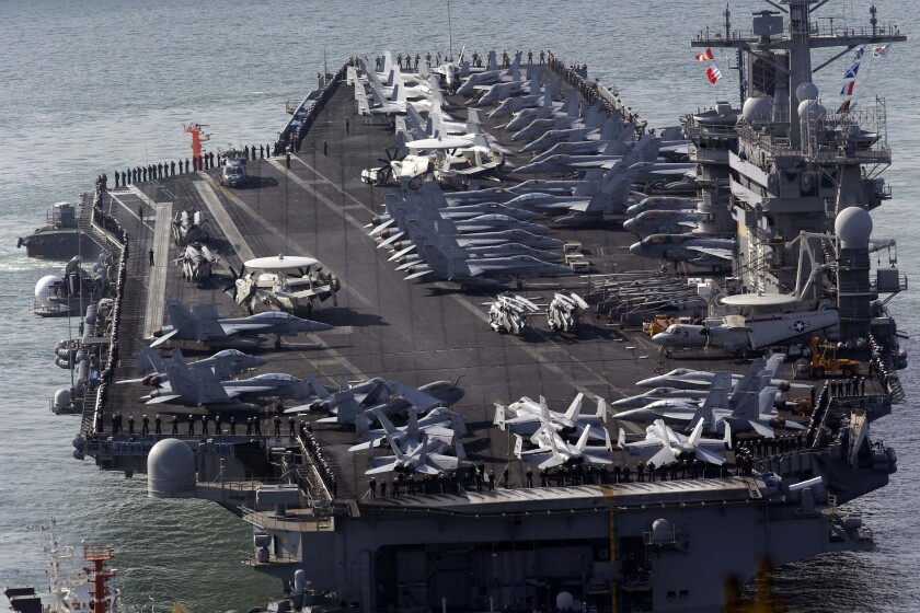 U.S. nuclear-powered aircraft carrier Nimitz approaches Busan port, south of Seoul, South Korea.