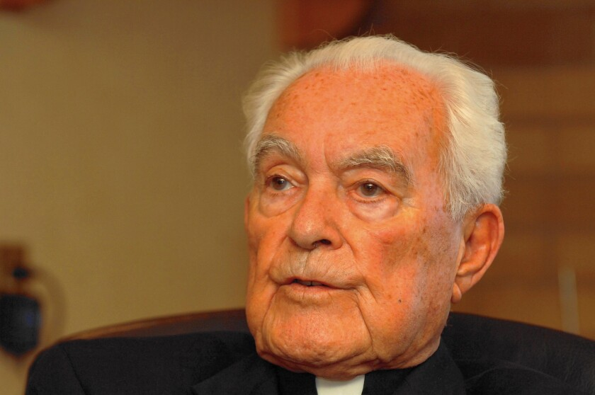 The Rev. Theodore Hesburgh, shown in 2007, was president of University of Notre Dame for 35 years. A founding member of the U.S. Civil Rights Commission, he called the admission of undergraduate women to Notre Dame in 1972 one of his proudest accomplishments.