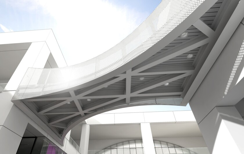 A rendering of the John V. Tunney Bridge at the Hammer Museum is shown. The pedestrian bridge will cross the museum courtyard and guide visitors to the Westwood museum's permanent collection.