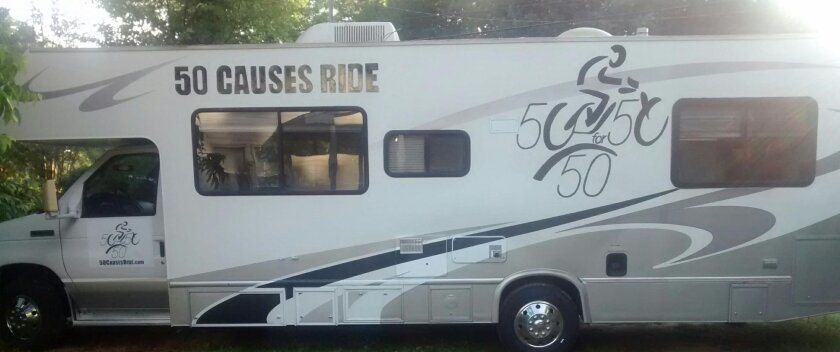 This motorhome, painted with the 50 Causes Ride logo, will accompany Diane Lea on her cross-country bike trip to draw attention to various health issues.