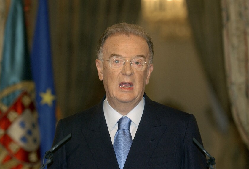 FILE - In this July 9, 2004 file photo, Portuguese President Jorge Sampaio speaks at Lisbon's Belem palace, after announcing that he will ask the ruling center-right Social Democratic Party to appoint a new prime minister following the resignation of Jose Durao Barroso. Sampaio, a former two-term president of Portugal and one of the most prominent political figures of his generation, has died. He was 81. The current Portuguese president, Marcelo Rebelo de Sousa, announced Sampaio's death Friday, Sept 10, 2021. (AP Photo/Armando Franca, File)