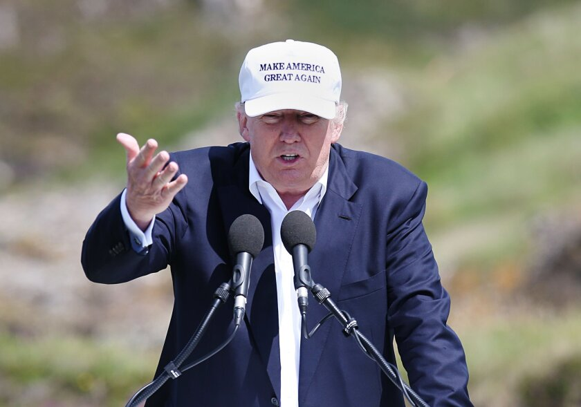 The presumptive Republican presidential nominee Donald Trump makes a speech at his revamped Trump Turnberry golf course in Turnberry Scotland Friday June 24, 2016. Trump, in Scotland the day after the United Kingdom voted to leave the European Union, saluted the decision, saying the nation's citize