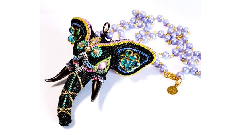 The Black Elephant pendant on glass mala beads and Swarovski crystals, $525. brassthread.com