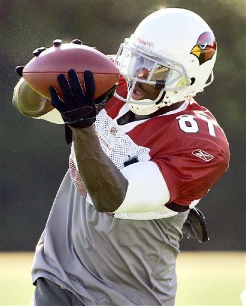 Arizona Cardinals wide receiver Anquan Boldin participates in football drills Wednesday, Jan. 14, 2009 in Tempe, Ariz. The Cardinals face the Philadelphia Eagles in the NFC Championship game Sunday. (AP Photo/Matt York)