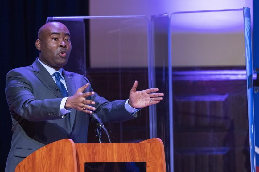 Democratic challenger Jaime Harrison speaks during the South Carolina U.S. Senate debate with Sen. Lindsey Graham on Oct. 3.
