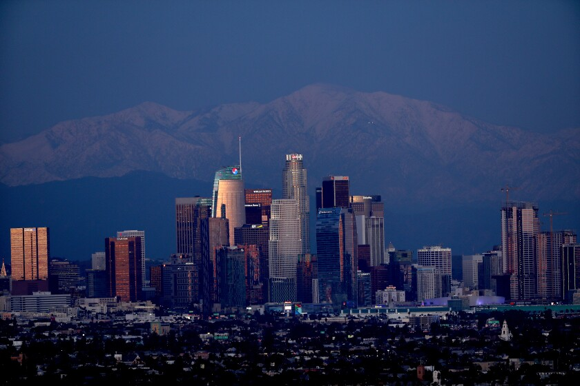 Downtown Los Angeles with the San Gabriel Mountains in the background