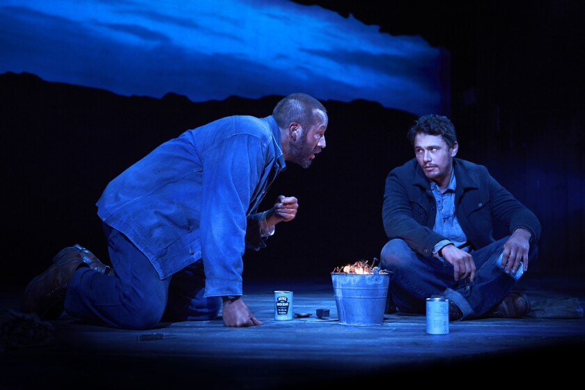 """James Franco, right, and Chris O'Dowd in a scene from """"Of Mice and Men."""""""