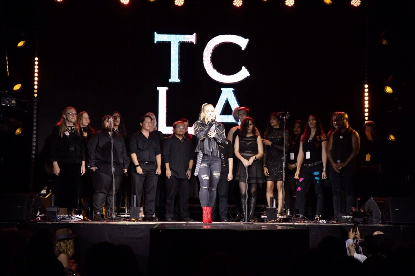 The Trans Chorus of Los Angeles performs during Unity: Equality Fashion Week on Sunday.