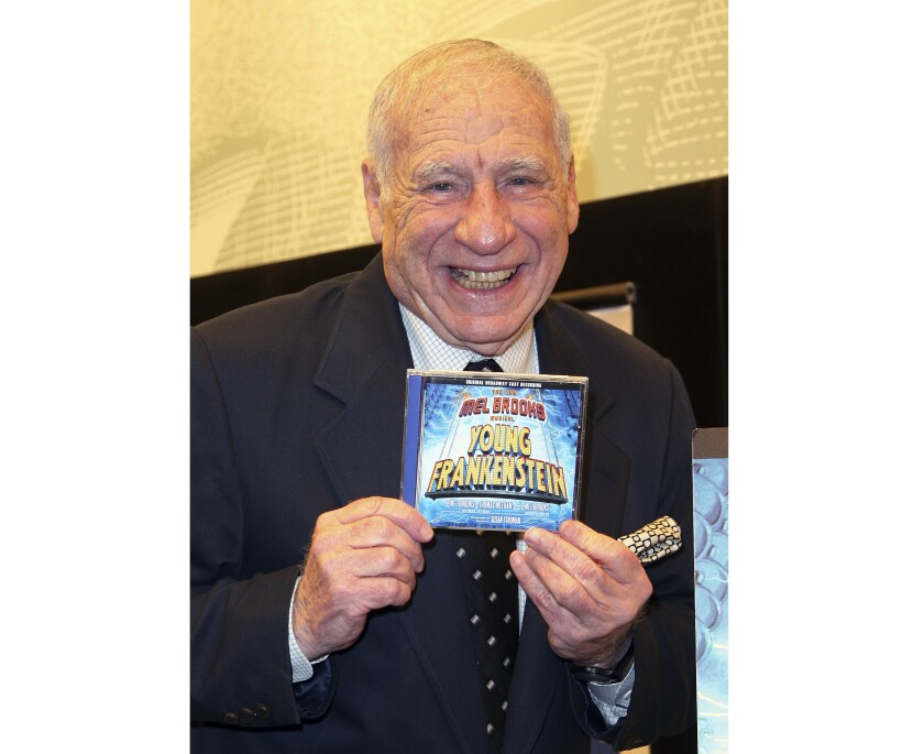 """FILE - This Jan. 15, 2008 file photo shows Mel Brooks posing with the CD of the Broadway performance sound track of """"Young Frankenstein"""" in New York. ABC will follow up its successful live staging of """"The Little Mermaid"""" with a live monster musical — """"Young Frankenstein."""" The network said Wednesday, Jan. 8, 2020, it will air """"Young Frankenstein Live!,"""" the stage version of Mel Brooks' 1974 film classic. The cast and air date were not revealed. (AP Photo/Rick Maiman, File)"""