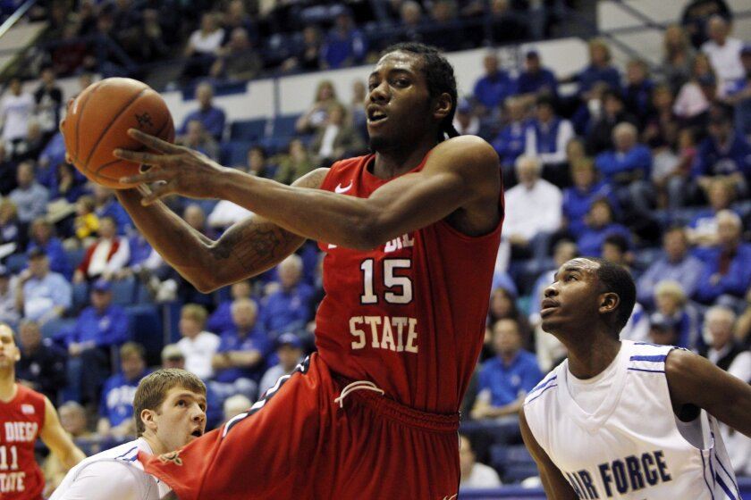 Kawhi Leonard during his days at San Diego State, shown here against Air Force.