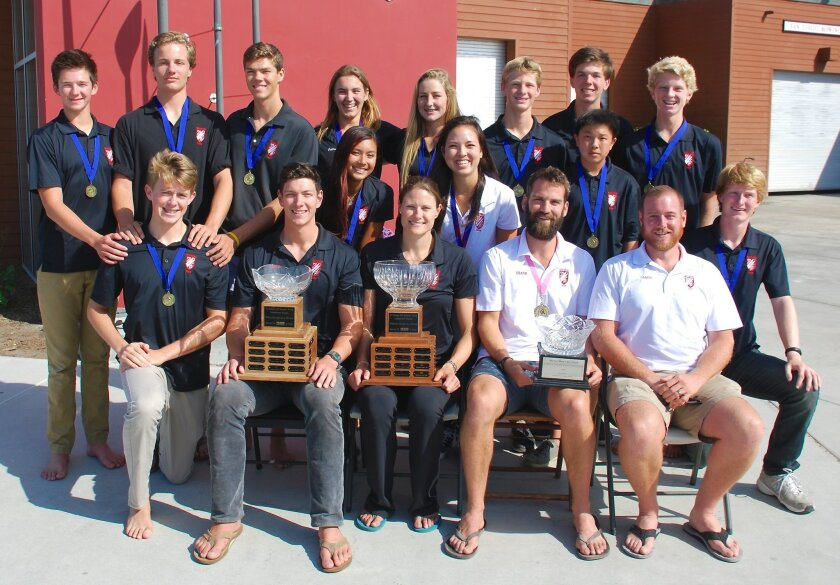 San Diego Rowing Club's gold-medal winning rowers, from three quadruples sculls squads, qualify for national competition in June. Front row, L-R: Kyle Blackburn, Varsity Men's Coach Benton Sparks, Varsity Women's Coach Susan Francia, Novice Men's Coach Patrick Hurley, Novice Men's Coach Patrick Kington, Erik Aasted. Middle row: Samantha Shao, Mariko Kelly, Alexander Wen. Back row: Matthew Piegza, John Carruthers, Andrew Rose, Jillian Renly, Delaney Lindsay, Jonathan Engle, Jacob Mitchell, Ethan Schauer.
