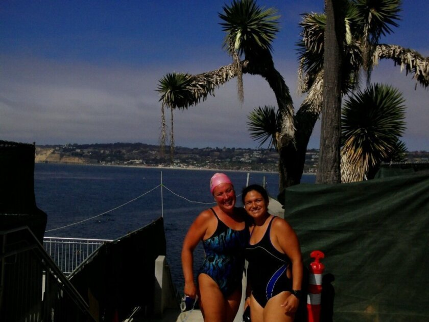 Penny Nagel and Dana Selles before a swim at La Jolla Cove