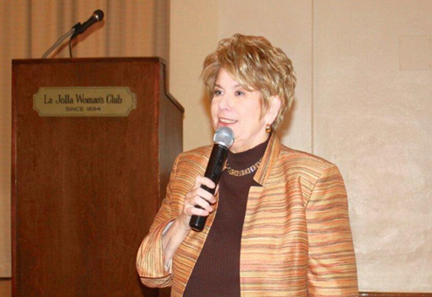 San Diego District Attorney Bonnie Dumanis addresses La Jolla Woman's Cub as the second Women in Leadership series speaker on June 3, 2015.