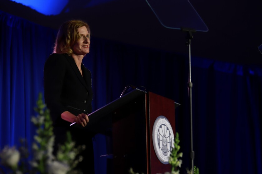 Incoming Cal State San Marcos President Ellen Neufeldt gave her first report to the community Thursday