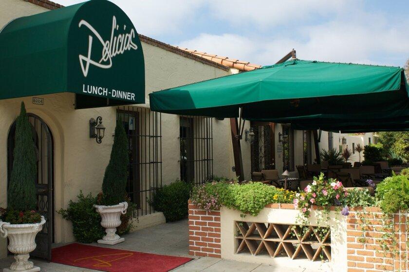The entrance and patio of Delicias restaurant in Rancho Santa Fe. Photos by Kelley Carlson