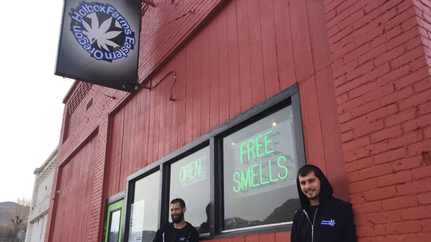 Jeremy Breton and Steve Meland are co-owners of Hotbox Farms, one of two marijuana dispensaries in Huntington.