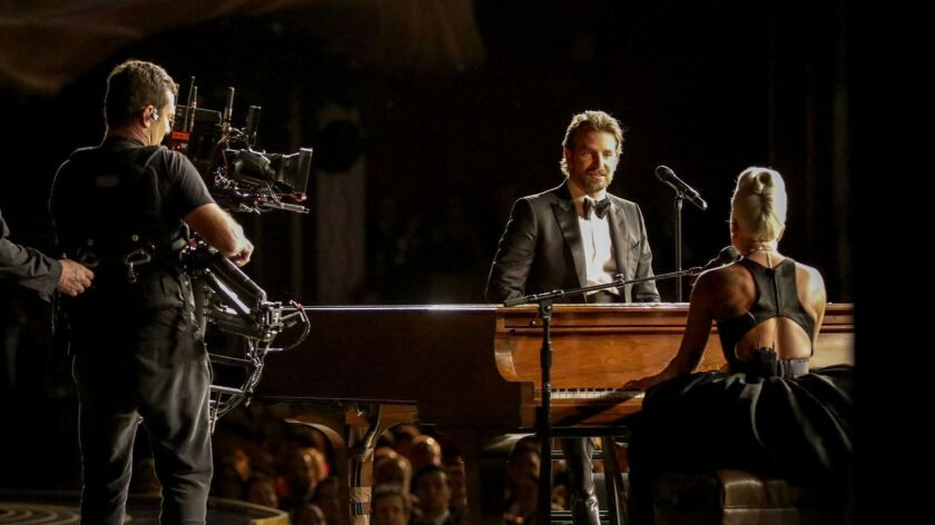 Bradley Cooper and Lady Gaga seen from backstage at the 91st Academy Awards on Sunday.