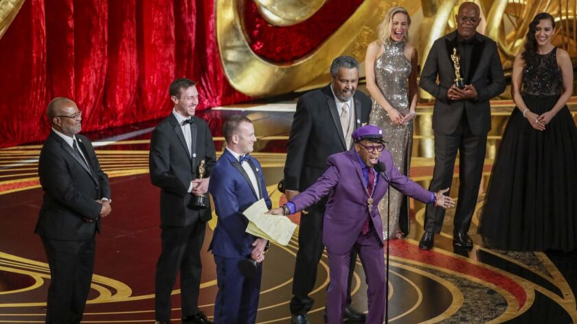 Spike Lee accepts the adapted screenplay award for 'BlacKkKlansman' at the 91st Academy Awards.
