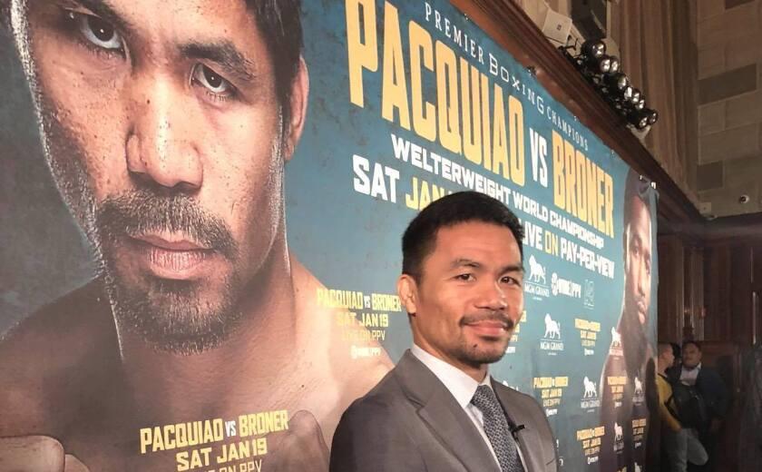 Manny Pacquiao en la presentación de su combate contra Adrien Broner, el 19 de enero de 2019 en Las Vegas.