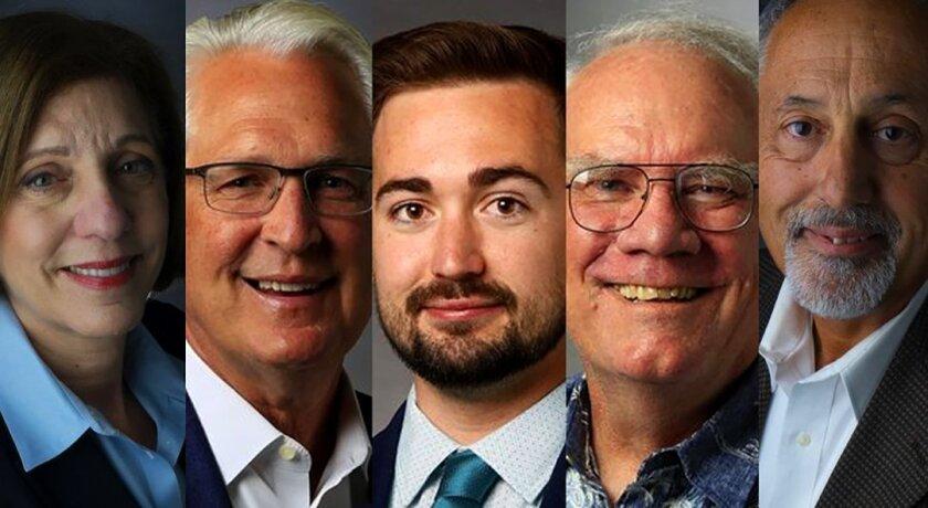 District 1 San Diego City Council candidates: Barbara Bry, Ray Ellis, Kyle Heiskala, Bruce Lightner and Louis Rodolico