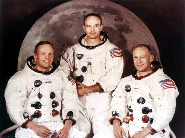 """Astronauts Neil Armstrong, left, Michael Collins and Edwin A. """"Buzz"""" Aldrin in their Apollo 11 crew portrait. Armstrong was the mission commander. He and Aldrin landed on the moon on July 20, 1969."""