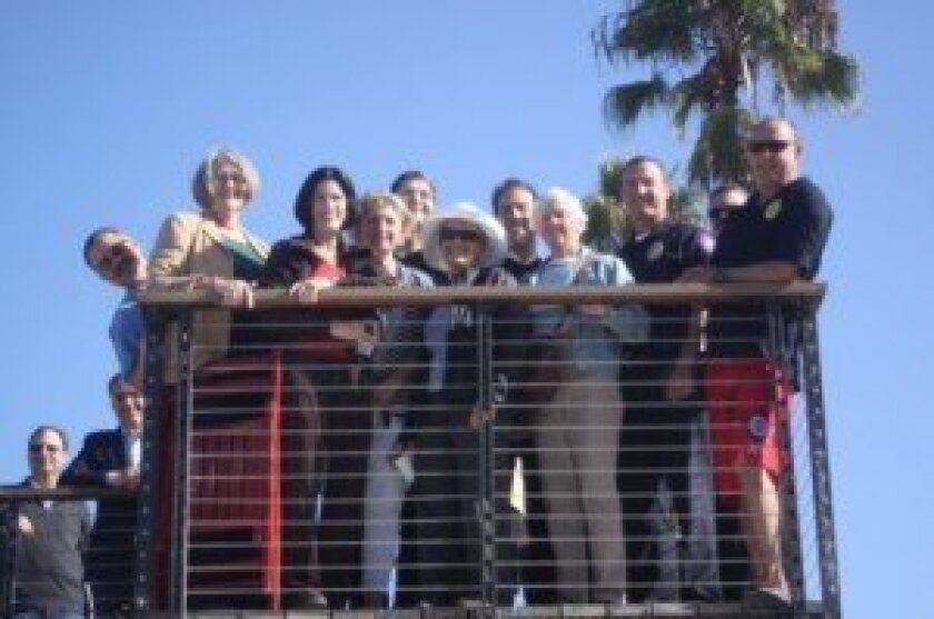 Pictured are Jihad Sleiman (City of San Diego project manager), District 1 City Councilmember Sherri Lightner, Jackie Booth (former La Jolla Shores Association member who helped steer the project), associate engineer Zina Rummani, principal architect Ralph Roesling, Susan Goulian (former Shores Ass