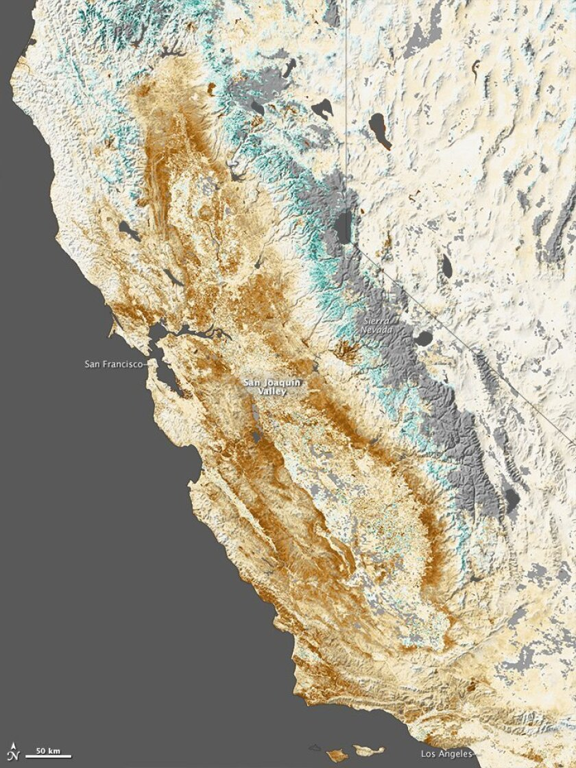 The vegetation anomalies of California as seen from space. Brown means less plant growth than normal. Green means more.