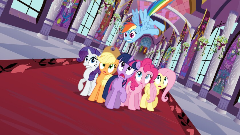 "A scene from the animated series ""My Little Pony: Friendship Is Magic."""