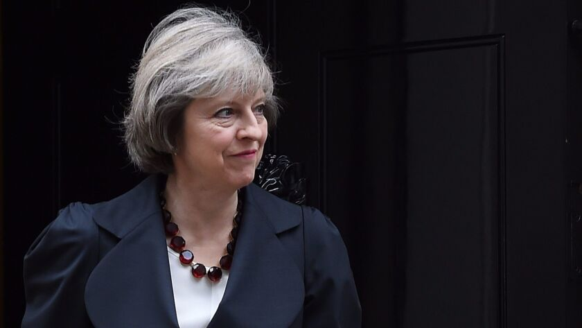 British Prime Minister Theresa May ahead of a meeting with Belgium Prime Minister Charles Michel at 10 Downing Street in central London, Nov. 22, 2016.