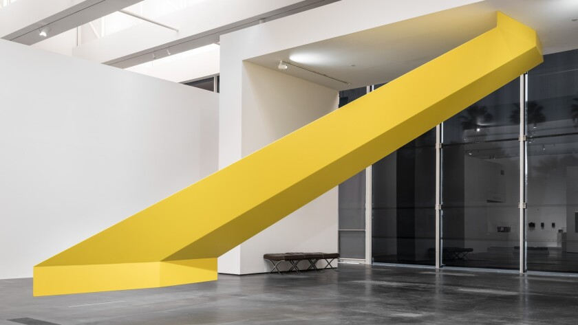 "Robert Grosvenor's ""Untitled (yellow),"" 1966/2016, in a show about the Dwan Gallery at LACMA."