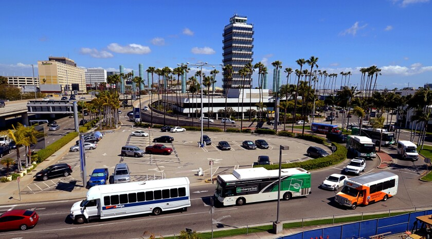 A water-main break at LAX cut off water service in some parts of the airport. Above, a file photo of LAX taken in March.