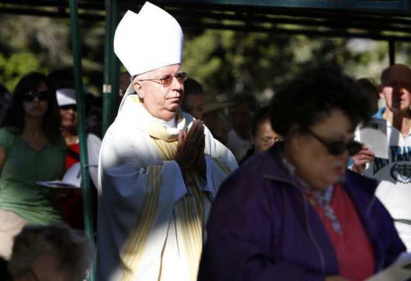 Cirilo Flores, as auxiliary bishop of Orange County, during a Mass at the Holy Sepulcher Cemetery in Orange. Named bishop of San Diego in 2013, he died Saturday of cancer.