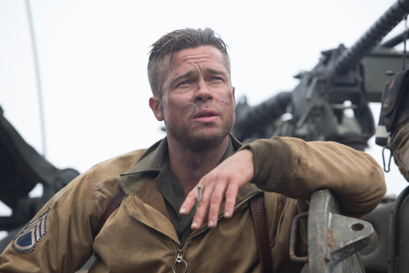 """Brad Pitt in Sony Pictures Entertainment's World War II movie """"Fury."""" The film was leaked online."""