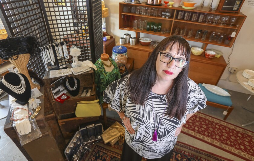 Tanya McAnear, the owner of a South Park vintage boutique called Bad Madge & Co., poses in her shop.