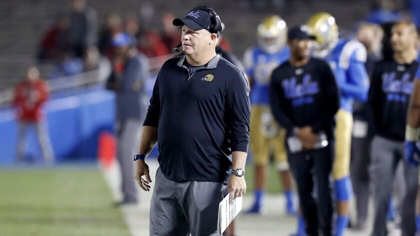 UCLA coach Chip Kelly watches his Bruins during the closing moments of a loss to Utah on Oct. 26, 2018, at the Rose Bowl.