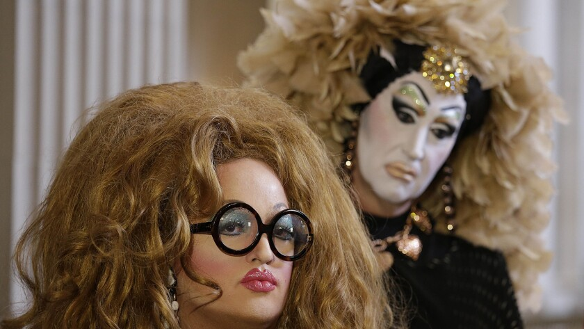 Drag queens Lil Ms. Hot Mess, left, and Sister Roma on Sept. 17 in San Francisco.