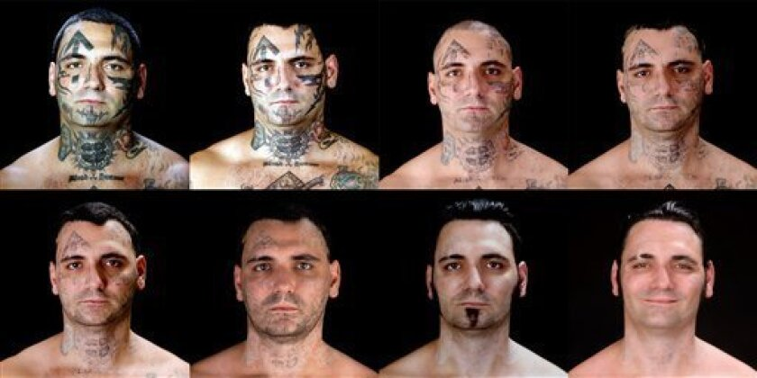 """This combination of eight photos provided by Bill Brummel Productions shows the progress of tattoo removal treatments for former skinhead Bryon Widner. For 16 years, Widner was a glowering, swaggering, menacing vessel of savagery - an """"enforcer"""" for some of America's most notorious and violent raci"""