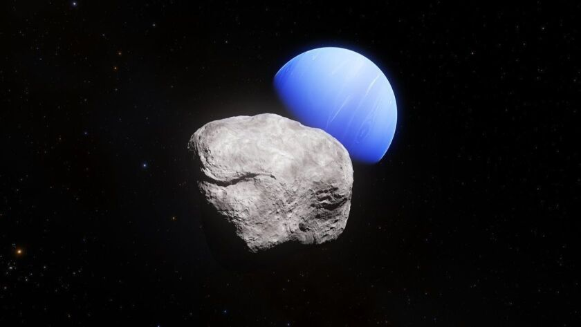 This artist's impression shows the outermost planet of the Solar System, Neptune, and its small mo