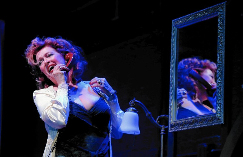 """Soprano Suzan Hanson performs """"Le Voix Humaine,"""" about a woman's call to a lover who has left her, at the Federal Bar in Long Beach."""