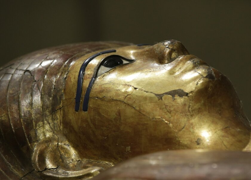 The inner coffin of Kha is seen at the Egyptian Museum of Turin, Italy, Tuesday, March 31, 2015. The museum, containing the world's second-largest collection of Egyptian artifacts after Cairo, is unveiling its new digs, including state-of-the art displays and an exhibit space double the original, a